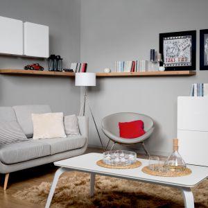 Sofa Possi ma wyjątkową formę. Siedzisko mieści się na zaokrąglonej podstawie. Fot. Black Red White