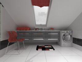 Wizualizacje łazienki na poddaszu w Kukowie