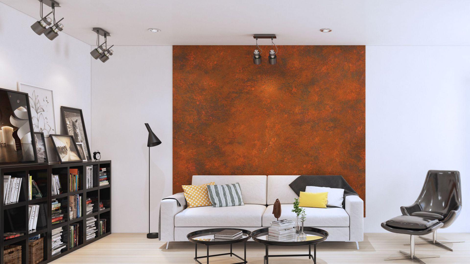 Ściana pokryta farbą o efekcie rdzy. Fot. Francesco Guardi Collezione