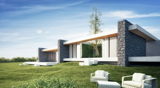 Nowoczesny dom kaskadowy: z kamiennymi ścianami