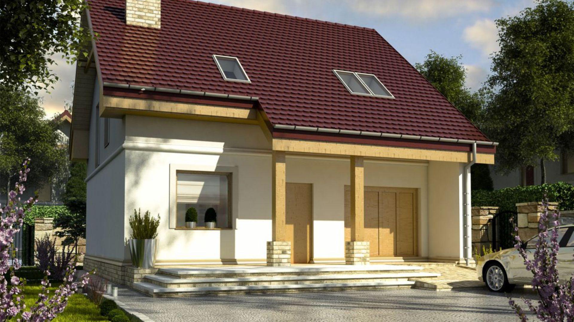 Zadaszone wejście z okapem wspartym na drewnianych słupach urozmaica front domu i jest niezwykle praktycznym rozwiązaniem. Fot. Dom dla Ciebie Pracownia  Projektowa Archeco