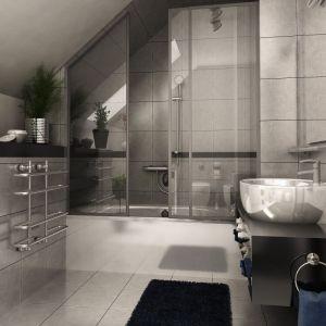 Łazienka to dominacja betonu i stali o wysokim połysku. Fot. Dom dla Ciebie Pracownia  Projektowa Archeco