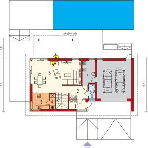 Parter: 1. Wiatrołap - 4.89 m² 2. Hol + schody - 15.48 m² 3. Kuchnia - 8.35 m² 4. Spiżarnia - 2.06 m² 5. Pokój dzienny + jadalnia - 40.91 m² 6. Łazienka - 2.65 m² 7. Pom. techniczne - 8.51 m² 8. Garaż - 38.63 m²