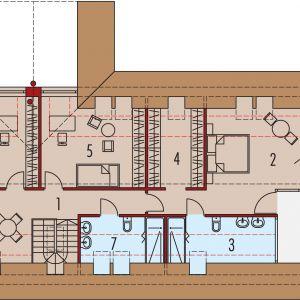 Poddasze: 1. Korytarz - 6.38 m² 2. Sypialnia - 21.41 m² 3. Łazienka - 6.55 m² 4. Garderoba - 7.44 m² 5. Sypialnia - 14.80 m² 6. Sypialnia - 14.06 m² 7. Łazienka - 5.06 m² 8. Pokój rekreacyjny - 10.29 m²