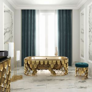 Złoty kolor nada łazience elegancki styl. Fot. Koi