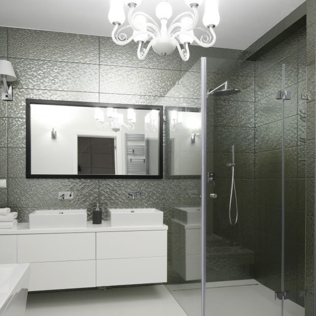 Szara łazienka przy sypialni - gotowy projekt