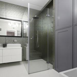 W łaziance znalazło się miejsc na przestronną kabinę typu walk-in. Projekt: Ewelina Pik, Maria Biegańska. Fot. Bartosz Jarosz