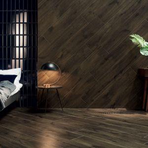 Kolekcja Wood Shed w formacie 30x75. Kolekcja Abisso, płytki Wood Shed Brown i Abisso Bar Navy. Fot. Tubądzin/Korzilius
