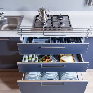 Dodatkowa przestrzeń w kuchni: szuflady Moovit. Fot. Häfele