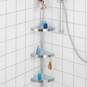 Półka łazienkowa narożna Wenko Premium edge, 3 poziomy, lusterko, teleskopowa. Fot. Emako.pl