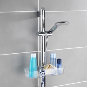 Półka łazienkowa pod prysznic Wenko Caddy Premium, montowana na drążku prysznica. Fot. Emako.pl