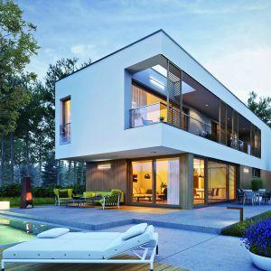 Dom w nocnej scenerii prezentuję się niezwykle efektownie. Dom EX 17 W2 Energo Plus. Projekt: Artur Wójciak. Fot. Pracownia Projektowa Archipelag