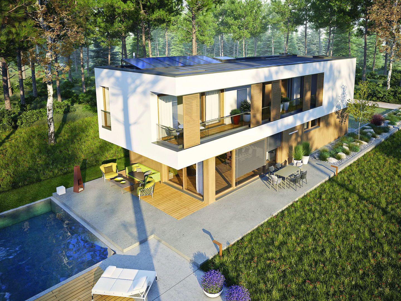 Charakterystycznym elementem projektu jest ponadto innowacyjne okno do dachów płaskich firmy Fakro, które oprócz tego, że pięknie doświetla przestrzeń głównej sypialni, tworzy niezwykle klimatyczną atmosferę tej części domu. EX 17 W2 Energo Plus to szlachetność prostoty w najmodniejszym wydaniu. Dom EX 17 W2 Energo Plus. Projekt: Artur Wójciak. Fot. Pracownia Projektowa Archipelag