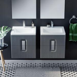 Nowoczesny design i kubistyczne formy: szafki Twins z dedykowanymi umywalkami występują w trzech wariantach (z jedną, dwoma szufladami lub podwójnymi drzwiami) oraz trzech kolorach (biały połysk, szary i czarny mat). Fot. Koło