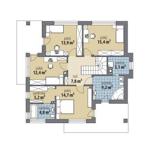 PIĘTRO: 1. hol – 7,80 2. pokój – 14,70 3. łazienka – 4,80 4. garderoba – 5,20 5. pokój – 12,40 6. pokój – 13,90 7. pokój – 15,40 8. pralnia – 3,10 9. łazienka – 9,20