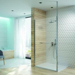 Parawan PI/ALTIIa z linii Altus ze wspornikiem do sufitu tworzy nowoczesną konstrukcję prysznicową typu walk-in.  Fot. Sanplast