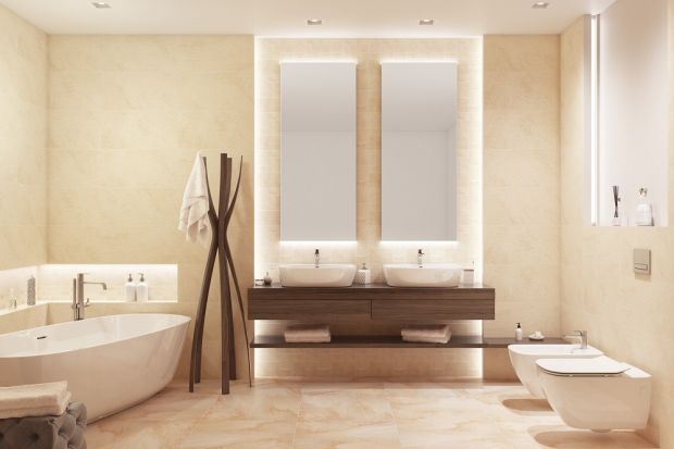 Beżowa łazienka - ciepło piaskowca na płytkach