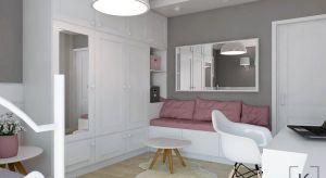 Nieduże wnętrze łączące w sobie kilka funkcji: miejsce do spotkań ze znajomymi, część sypialnianą, miejsce do pracy i wymarzoną toaletkę.
