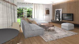 projekt przytulnego salonu z drewnem
