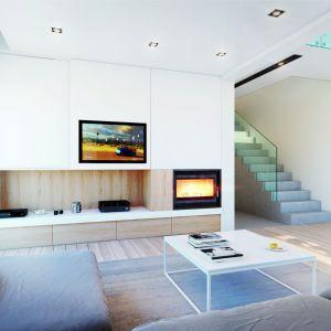 Ściana telewizyjna i zabudowa kominka są minimalistyczne -  ocieplono je jednak nutą drewna. Projekt: Dom w amorfach. Fot. Archon +