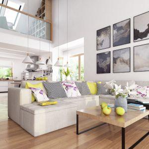 W salonie dominują jasne barwy. Biel ścian doskonale koresponduje z ciepłą, drewnianą podłogą i modnymi meblami. Projekt: Marcin Abramowicz, Marta Zaperty-Adamek. Fot. Dobre Domy Flak & Abramowicz