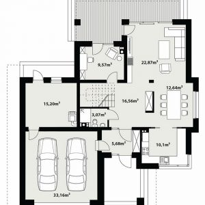 Rzut parteru. PARTER: 95,69 m2 1. wiatrołap – 5,68 m2 2. hol – 16,56 m2 3. łazienka – 3,07 m2 4. pokój – 9,57 m2 5. salon – 22,87 m2 6. jadalnia – 12,64 m2 7. kuchnia – 10,10 m2 8. kotłownia – 15,20 m2 9. garaż* – 33,16 m2