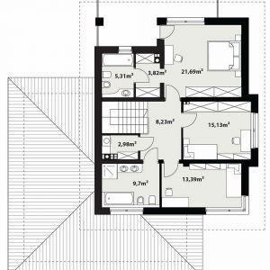 Rzut piętra.  PIĘTRO: 80,25 m2 1. hol – 8,23 m2 2. sypialnia – 15,13 m2 3. sypialnia – 13,39 m2 4. łazienka – 9,70 m2 5. pralnia – 2,98 m2 6. sypialnia – 21,69 m2 7. garderoba – 3,82 m2 8. łazienka – 5,31 m2 *pomieszczenia niewliczone do powierzchni użytkowej