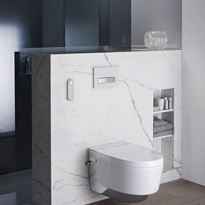 Sposobem na ograniczenie użycia detergentów jest toaleta myjąca Geberit AquaClean. Połączenie toalety z bidetem, czyli jedno urządzenie zamiast dwóch. Pozwala ono również na mniejsze zużycie papieru toaletowego. Fot. Geberit