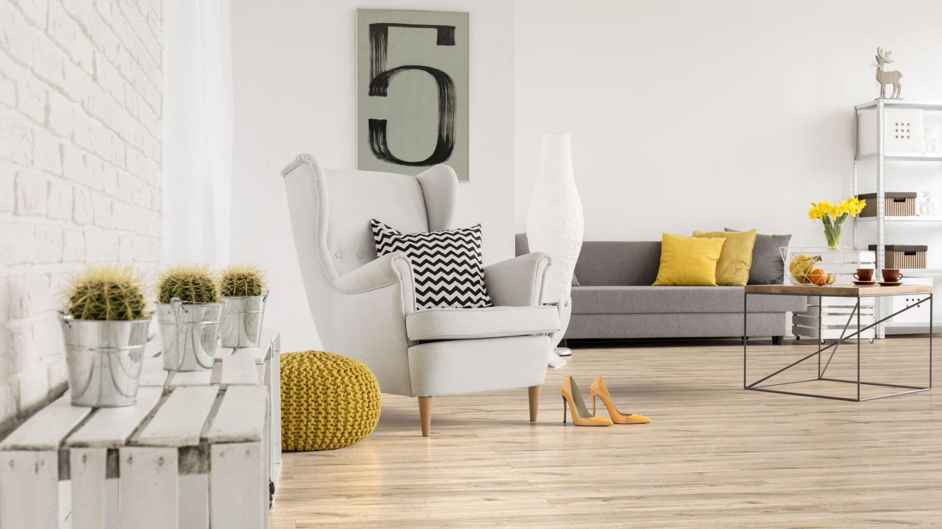 Panele Freedom 4Vw dekorze Dąb Brooks mają drewnianą strukturę desek oraz połyskującą powierzchnię. Fot. Classen / RuckZuck