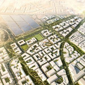 Położone na pustyni Masdar City jest zasilane energią słoneczną płynącą z położonej nieopodal farmy słonecznej. Fot. materiały prasowe dewelopera