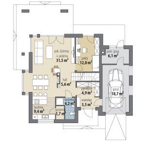 PARTER: 72,80 m2 1. wiatrołap – 3,50 m2 2. hol – 5,60 m2 3. łazienka – 4,20 m2 4. spiżarnia – 1,70 m2 5. kuchnia – 9,40 m2 6. pok. dzienny + jadalnia – 31,50 m2 7. pokój – 12,00 m2 8. garderoba – 4,90 m2 9. garaż* – 18,70 m2 10. pom. gospodarcze* – 6,10 m2
