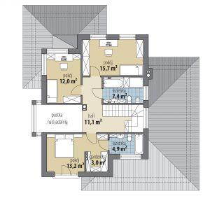 PIĘTRO: 67,30 m2 1. hol – 11,10 m2 2. łazienka – 4,90 m2 3. garderoba – 3,00 m2 4. pokój – 13,20 m2 5. pokój – 12,00 m2 6. pokój – 15,70 m2 7. łazienka – 7,40 m2 *pomieszczenia niewliczone do powierzchni użytkowej