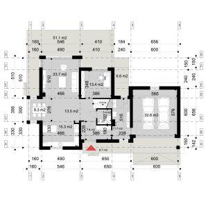 PARTER: 98,10 m2 1. hol wejściowy 7,80 m2 2. komunikacja 13,50 m2 3. kuchnia 15,30 m2 4. jadalnia 9,30 m2 5. pokój dzienny 23,70 m2 6. kotłownia + pralnia 11,70 m2 7. łazienka 3,40 m2 8. gabinet 13,40 m2 9. garaż* 32,60 m2 10. taras/ogród* 51,10 m2 11. taras/garaż* 6,60 m2