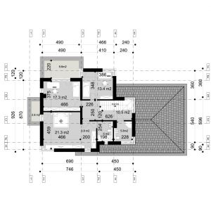 PIĘTRO: 80,10 m2 1. komunikacja 10,50 m2 2. łazienka 1 5,80 m2 3. sypialnia 1 21,30 m2 4. balkon* 9,60 m2 5. sypialnia 2 17,30 m2 6. sypialnia 3 13,40 m2 7. garderoba 6,80 m2 8. łazienka 2 5,00 m2 9. balkon* 2,80 m2