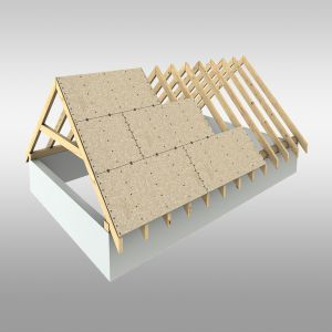Poszycie dachu z płyt drewnopochodnych na pióro wpust. Fot. Pfleiderer