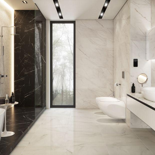 Elegancka łazienka. Postaw na marmur