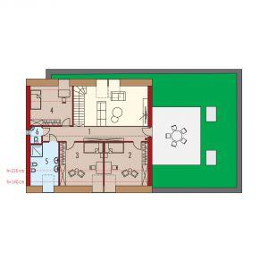 Rzut poddasza. Dom EX 18 G2 Energo Plus. Projekt: arch. Artur Wójciak. Fot. Pracownia Projektowa Archipelag