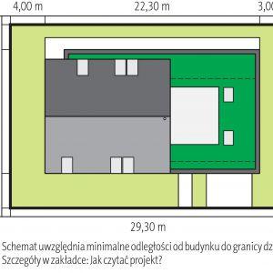 Usytuowanie domu na działce. Dom EX 18 G2 Energo Plus. Projekt: arch. Artur Wójciak. Fot. Pracownia Projektowa Archipelag