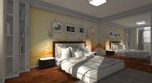 Przedstawiamy projekt sypialni z ciekawym pomysłem na ścianę za łóżkiem.