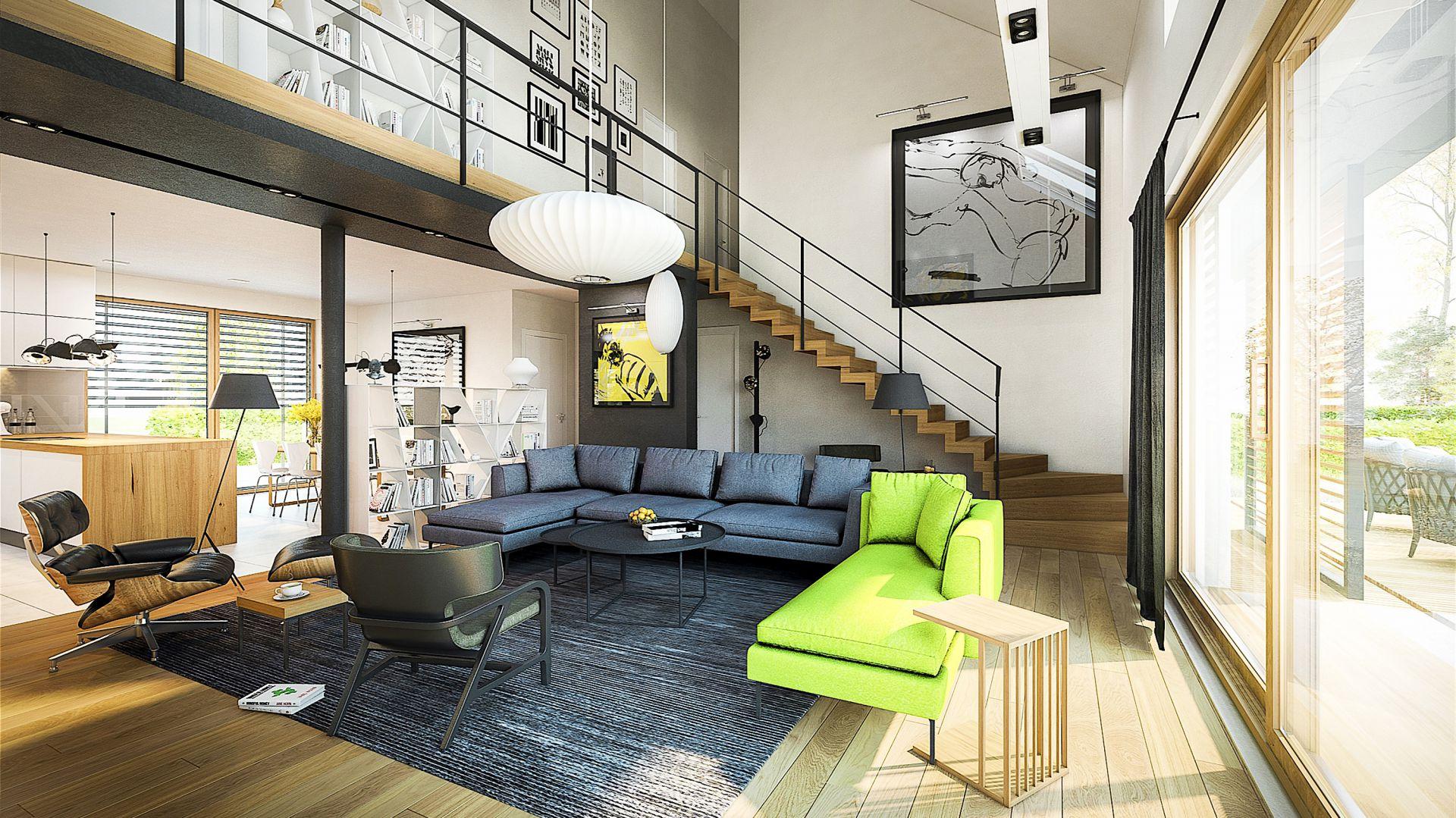 Sercem projektu EX 18 G2 Energo Plus jest otwarty, dwukondygnacyjny salon oferujący domownikom luksus przestrzeni i wspaniały widok na ogród. Dom EX 18 G2 Energo Plus. Projekt: arch. Artur Wójciak. Fot. Pracownia Projektowa Archipelag