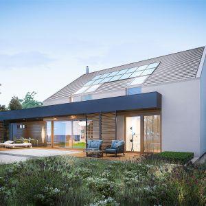 Nocny widok na elewację ogrodową. Dom EX 18 G2 Energo Plus. Projekt: arch. Artur Wójciak. Fot. Pracownia Projektowa Archipelag