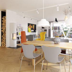 Jedną z najatrakcyjniejszych części domu jest słoneczna jadalnia. Projekt: arch. Artur Wójciak. Fot. Pracownia Projektowa Archipelag