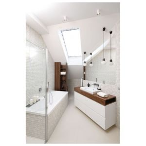 Oświetlenie w łazience. Projekt: Jan Sikora. Fot. Bartosz Jarosz