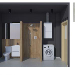 Aranżacja łazienki: łazienka w kawalerce w Wadowicach. Fot. Kahelo