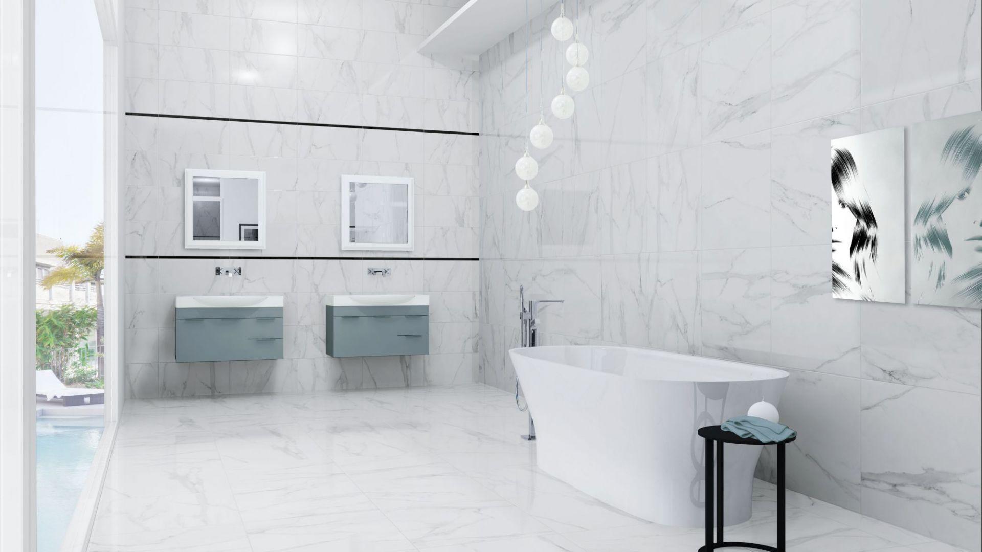 Nowoczesna łazienka: szare płytki ceramiczne. Kolekcja Da Vinci Lux. Fot. Azteca