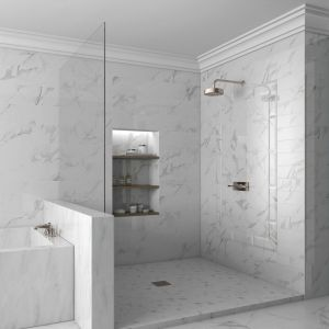 Nowoczesna łazienka: szare płytki ceramiczne. Fot. Mayolica
