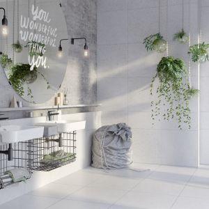 Nowoczesna łazienka: szare płytki ceramiczne. Fot. Opoczno