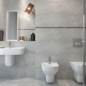 Nowoczesna łazienka: szare płytki ceramiczne. Seria Bino. Fot. Cersanit