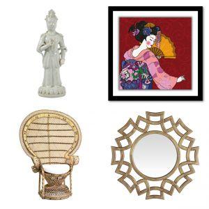 Figura Dama - 719 zł, grafika na szkle akrylowym Atago - 279 zł, krzesło Adelaide - 1.499 zł, lustro Viejo - 79 zł. Fot. Westwing