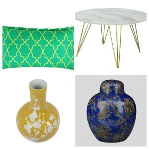 Poduszka Grassy Moroccan - 169 zł, stolik Chloe - 999 zł, wazon Cesier - 629 zł, wazon z pokrywką Yame - 499 zł. Fot. Westwing